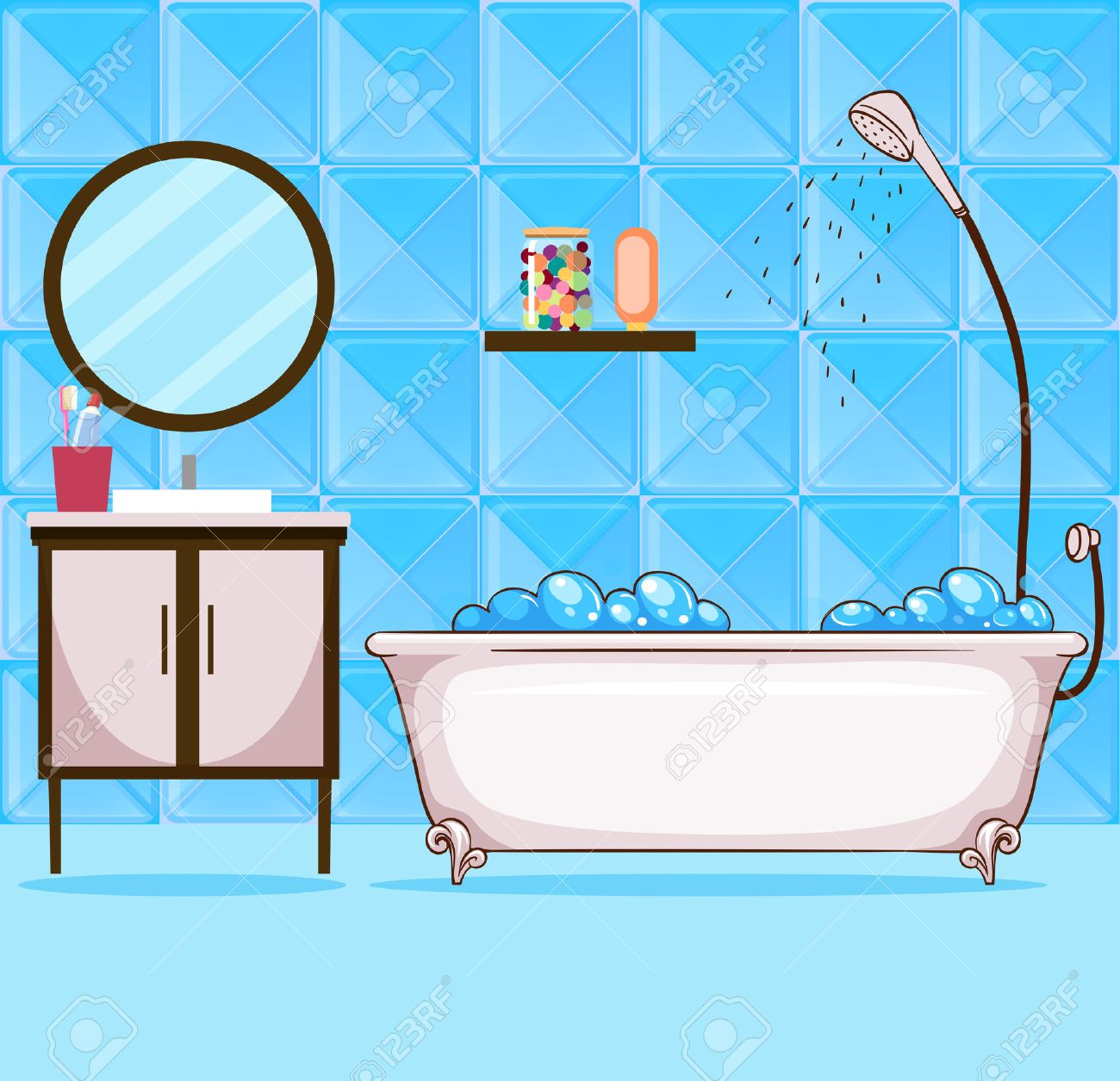 Bathroom pictures clipart jpg black and white Collection of 14 free Bathtub clipart shawer crabs clipart. Download ... jpg black and white