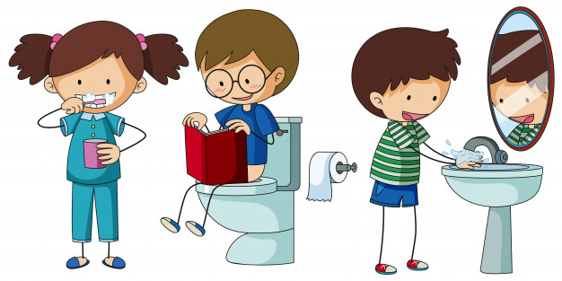Bathroom routine clipart picture stock Children doing different routine in bathroom Vector | Free Download picture stock