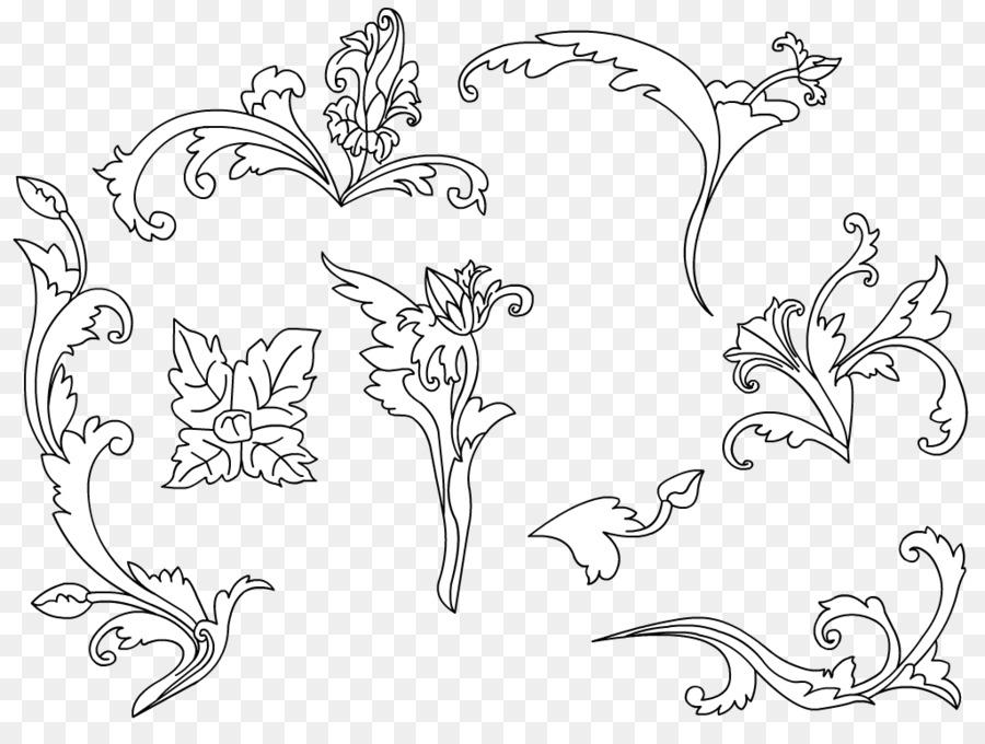 Batik pattern clipart image black and white download Black And White Flower clipart - Batik, Flower, White, transparent ... image black and white download