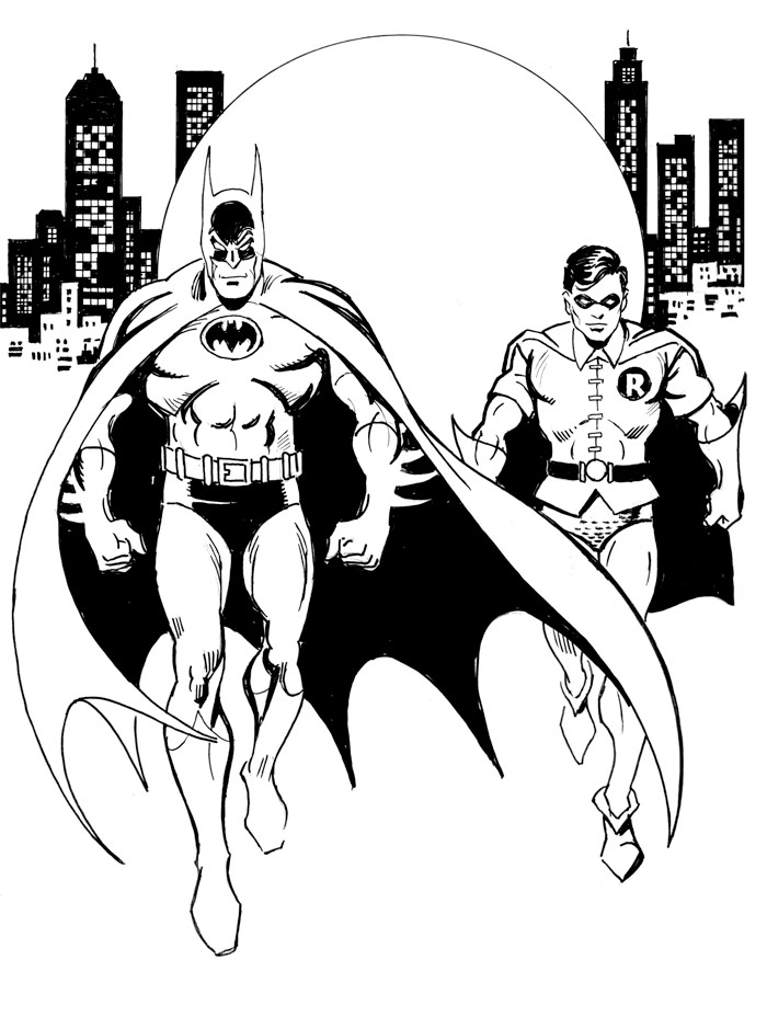 Library of batman and robin black and white svg royalty ...