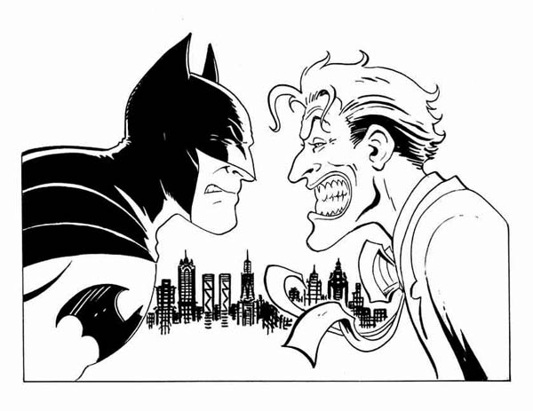 Clipartfest coloring page. Batman vs joker clipart