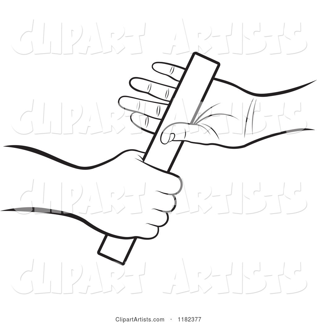 Baton clipart black and white picture download Black and White Hands Passing a Relay Race Baton Clipart by Lal ... picture download