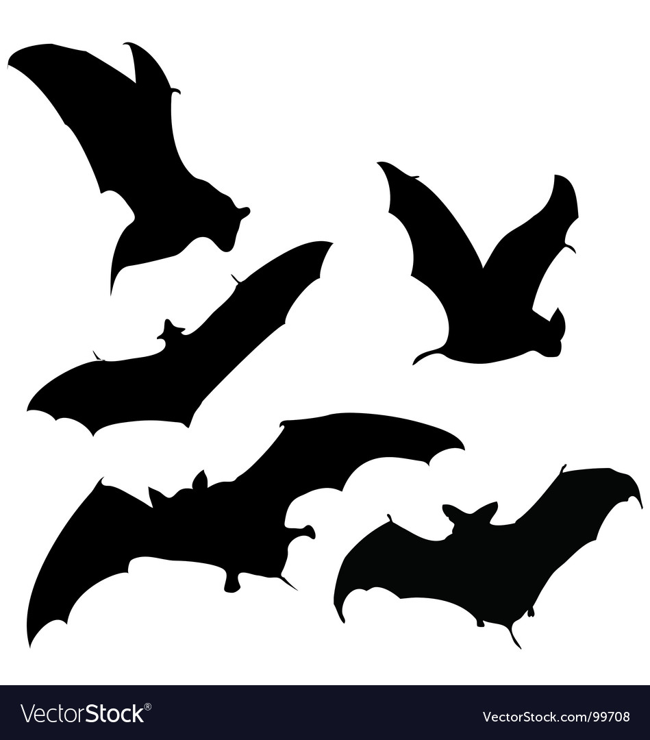 Bats flying at night clipart black and white banner free stock Flying bats silhouettes Royalty Free Vector Image banner free stock