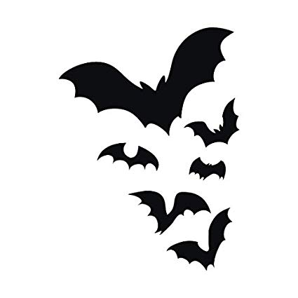 Bats flying at night clipart black and white banner black and white Amazon.com: Flock of Bats Flying through the Night Colony ... banner black and white