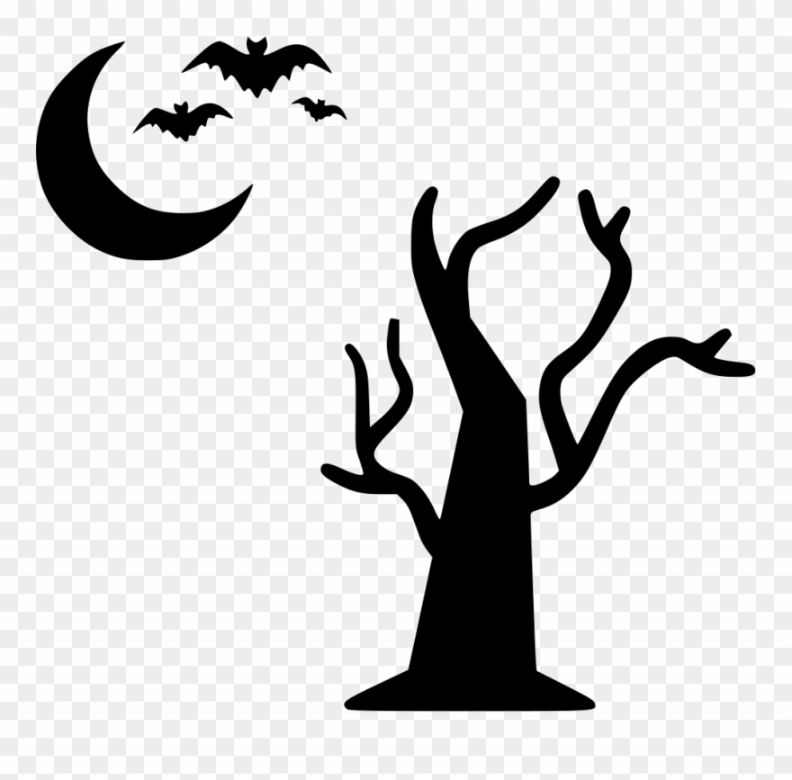 Bats flying at night clipart black and white svg freeuse stock Tree Moon Bats Flying Halloween Night Comments - Halloween Tree Icon ... svg freeuse stock