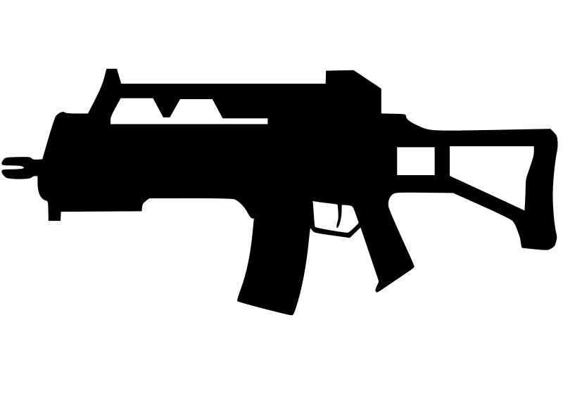 Clipart assault rifle vector black and white Free clip art \
