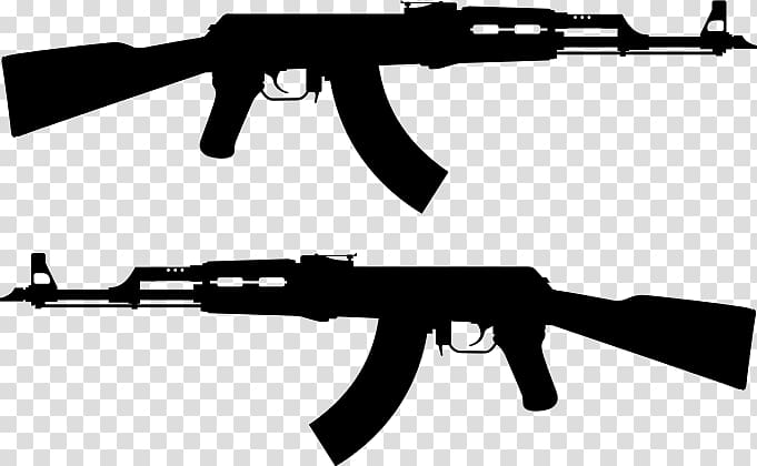 Battle rifle clipart jpg free AK-47 Firearm Rifle Silhouette, ak 47 transparent background PNG ... jpg free