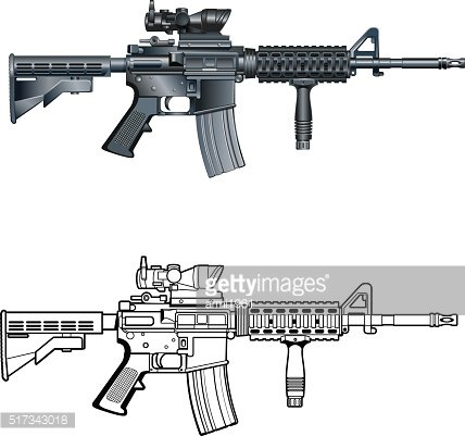 Battle rifle clipart graphic royalty free download American M4 AR 15 Automatic Assault Rifle premium clipart ... graphic royalty free download