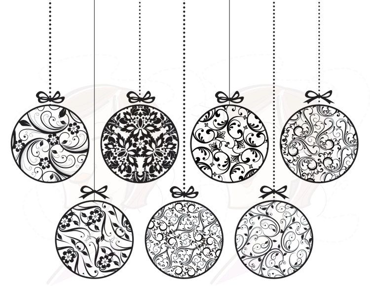 Christmas black and white ornaments clipart