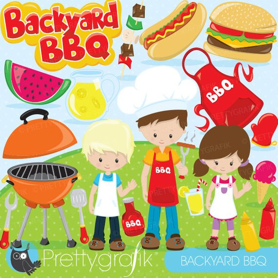 Bbq clipart for sale clip art library stock BUY20GET10 - Backyard BBQ clipart for scrapbooking, BBQ kids clipart ... clip art library stock