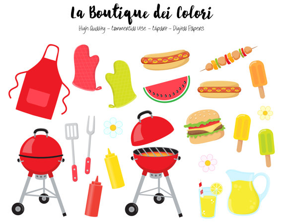 Bbq grill with clown clipart vector library download BBQ Clipart, Cute Digital illustrations PNG, Summer Barbeque ... vector library download