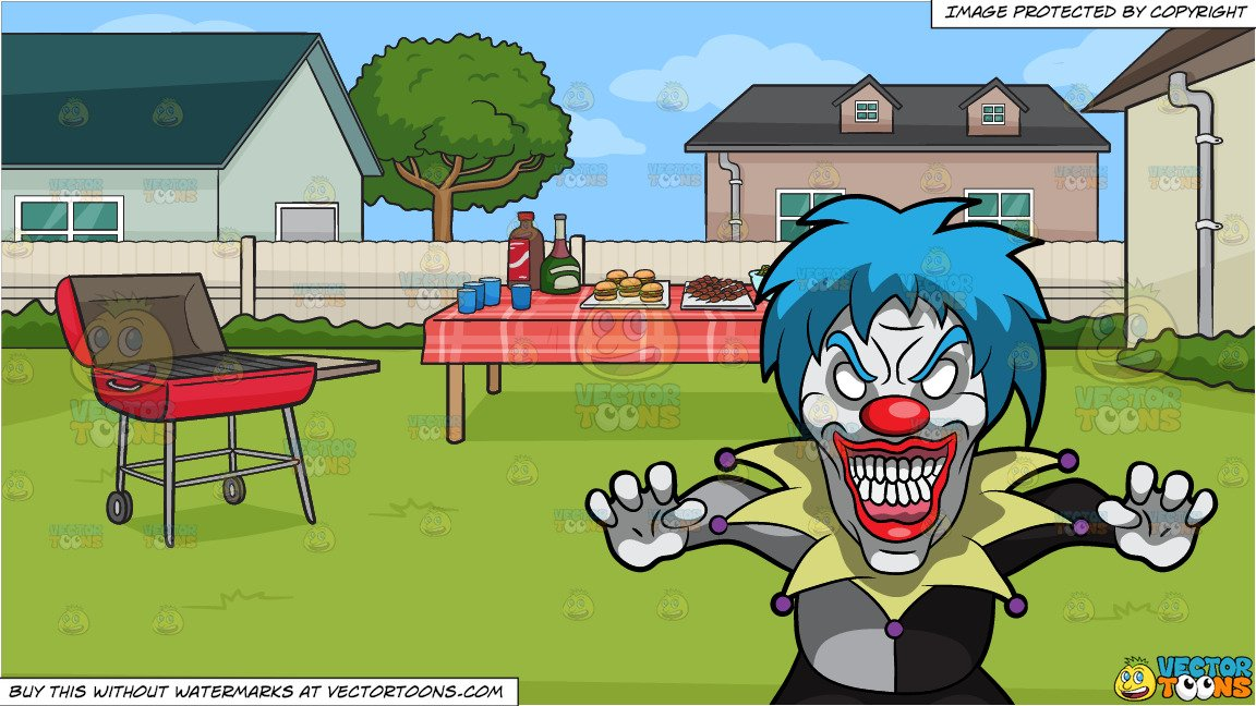 Bbq grill with clown clipart svg freeuse A Very Frightening Clown and A Backyard Barbecue Background svg freeuse