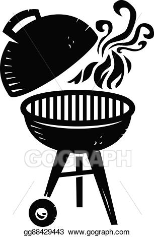 Clipart bbq grill transparent download Vector Stock - Bbq grill cooking with smoke and fl. Clipart ... transparent download