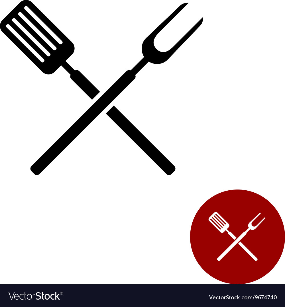 Bbq spatula clipart image freeuse stock BBQ barbeque tools crossed black simple silhouette image freeuse stock
