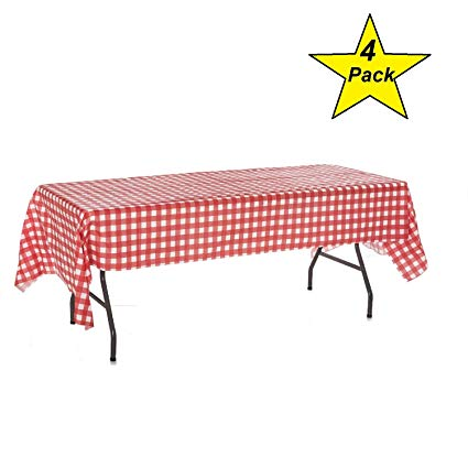 Bbq table cloth clipart free image transparent stock Oojami Pack of 4 Plastic Red and White Checkered Tablecloths - 4 Pack -  Picnic Table Covers image transparent stock