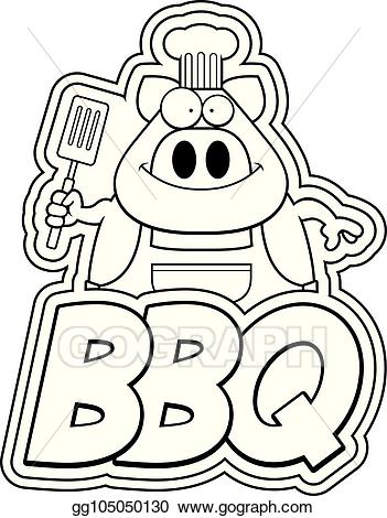 Bbq text clipart picture freeuse stock EPS Vector - Cartoon pig and bbq text. Stock Clipart Illustration ... picture freeuse stock