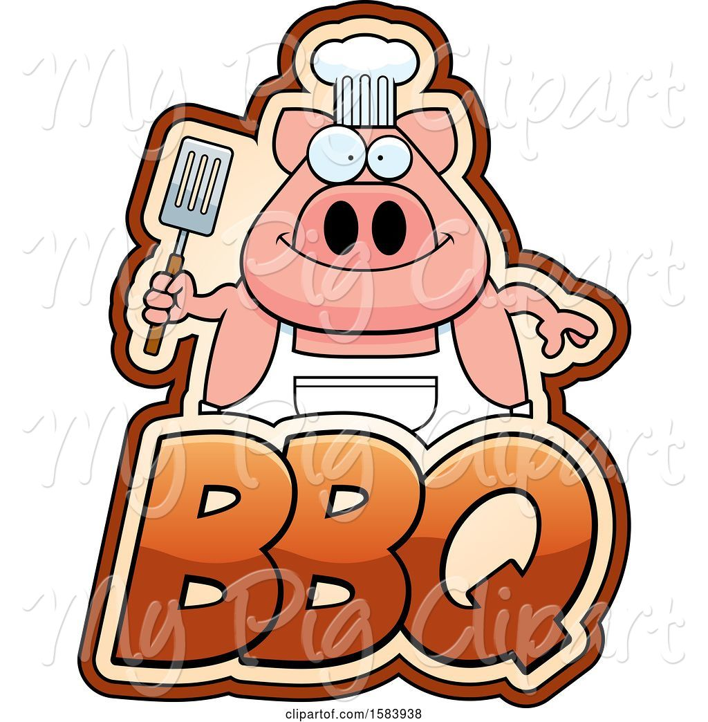 Bbq text clipart banner royalty free download Swine Clipart of Grilling Chef Pig Holding a Spatula over Bbq Text ... banner royalty free download