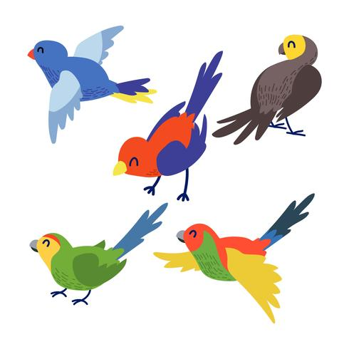 Bcartoon bird clipart clip download Cute Bird Clipart Set Vector - Download Free Vector Art, Stock ... clip download