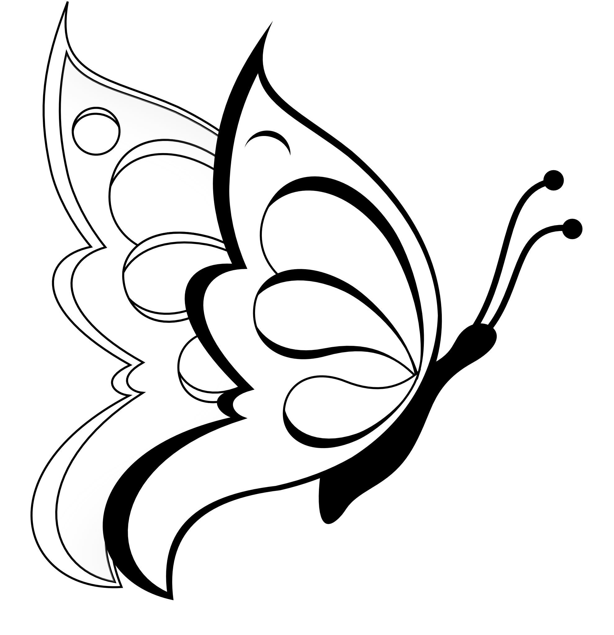 Line butterfly clipart png black and white download butterfly clipart | Butterfly 19 Black White Line Art Coloring Sheet ... png black and white download
