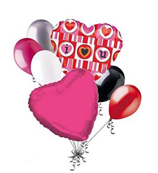 Be mine balloon clipart jpg download Amazon.com: Jeckaroonie Balloons 7 pc I Heart U Bright Valentines ... jpg download
