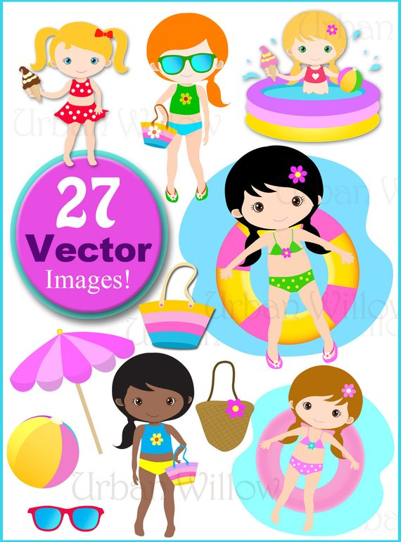 Bea clipart banner download Pool Party Clip Art, Vector Graphics Cute Girls Swimming, Summer ... banner download