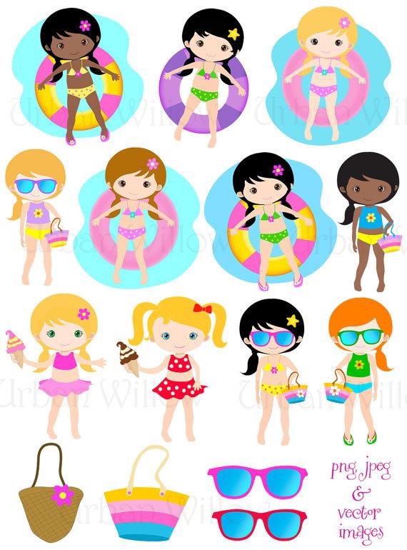 Bea clipart clip art Pool Party Clip Art, Vector Graphics Cute Girls Swimming, Summer ... clip art