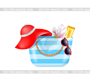 Beach accessories clipart clip library download Female Bag with Beach Accessories. Set of Summer - stock vector clipart clip library download