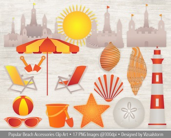 Beach accessories clipart svg free library Summer Beach Clipart, \