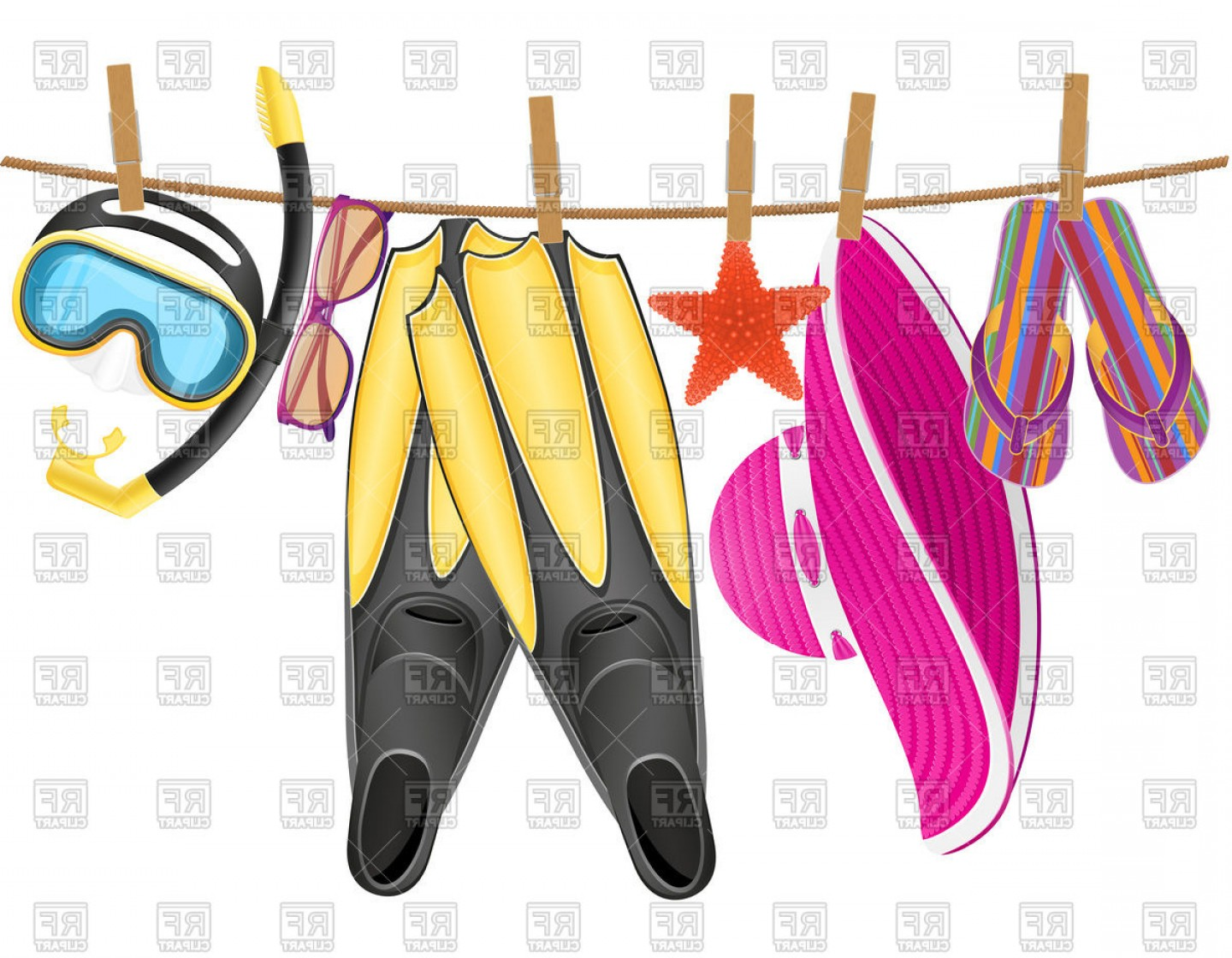 Beach accessories clipart svg freeuse library Beach Accessories Hanging On Rope With Clothespin Vector Clipart ... svg freeuse library