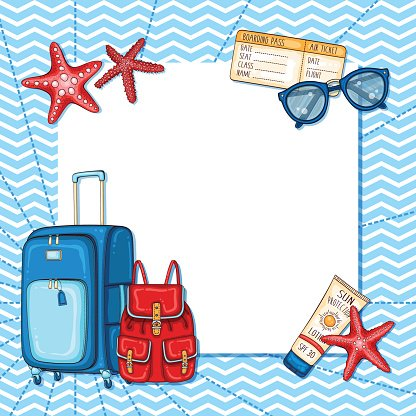 Beach accessories clipart svg library Summer Nautical Background With Beach and Travel Accessories premium ... svg library