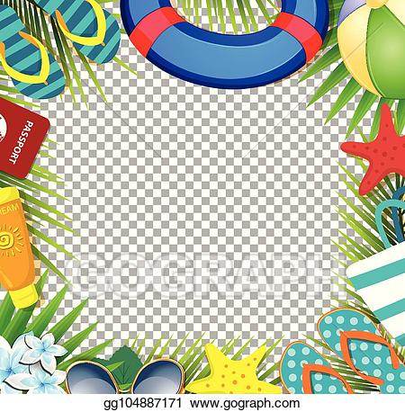 Beach accessories clipart image freeuse library Vector Stock - Summer vacation beach accessories and palm leaves on ... image freeuse library