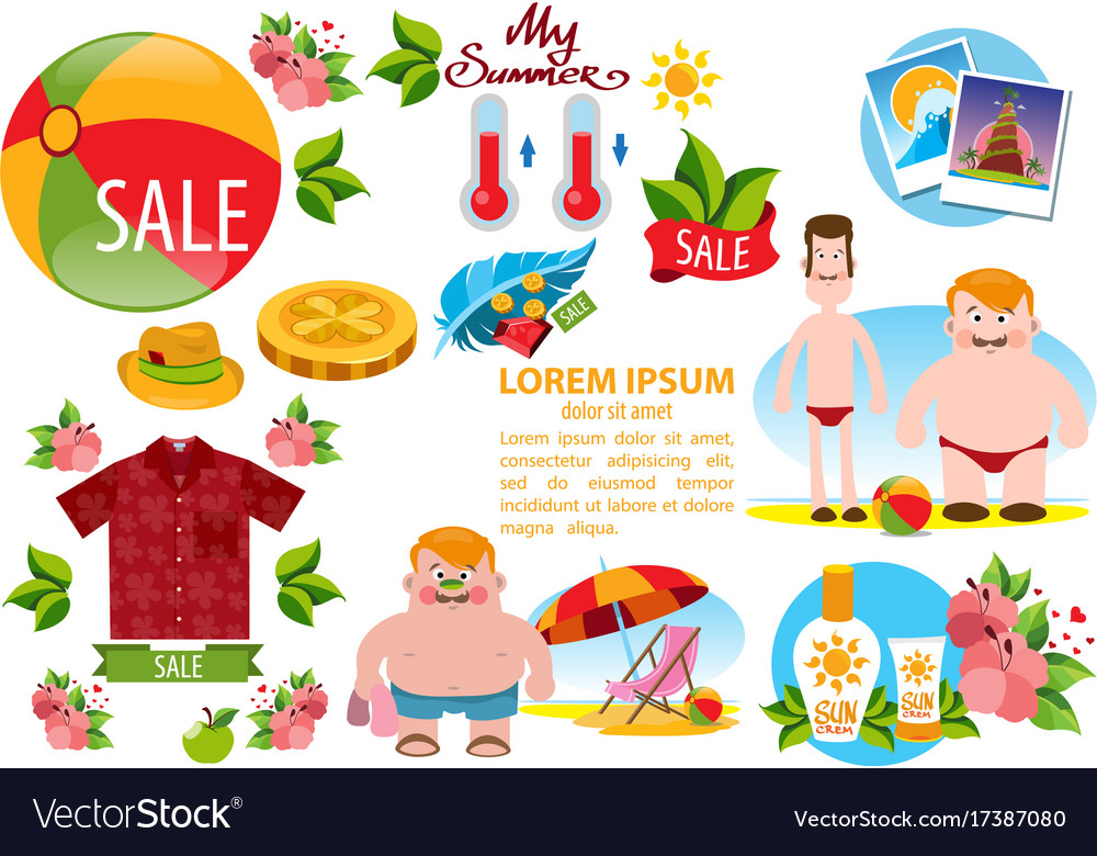 Beach accessories clipart jpg library Beach theme people sea summer items clothing and jpg library