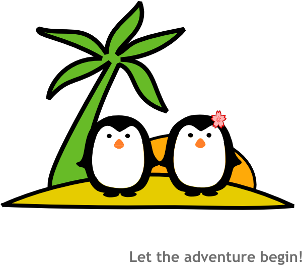 Clipart sun beach graphic transparent Two Penguins At Beach Clip Art at Clker.com - vector clip art online ... graphic transparent