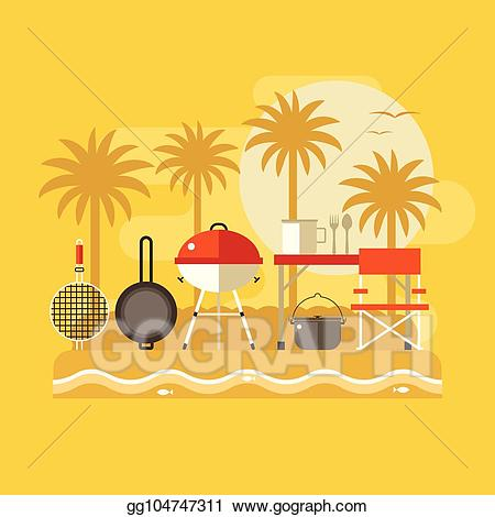 Beach bbq clipart banner library library Vector Clipart - Summer beach picnic banner. Vector Illustration ... banner library library