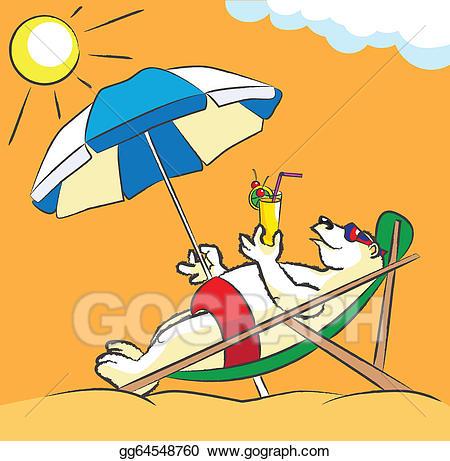 Beach bear clipart clipart library Vector Illustration - White bear on a beach. EPS Clipart gg64548760 ... clipart library
