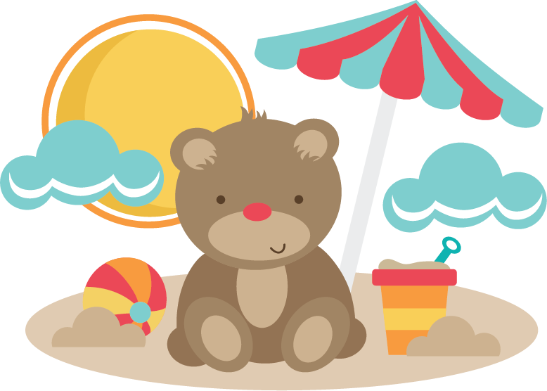 Beach bear clipart picture free Bear At The Beach SVG cut files for scrapbooking bear svg file beach ... picture free