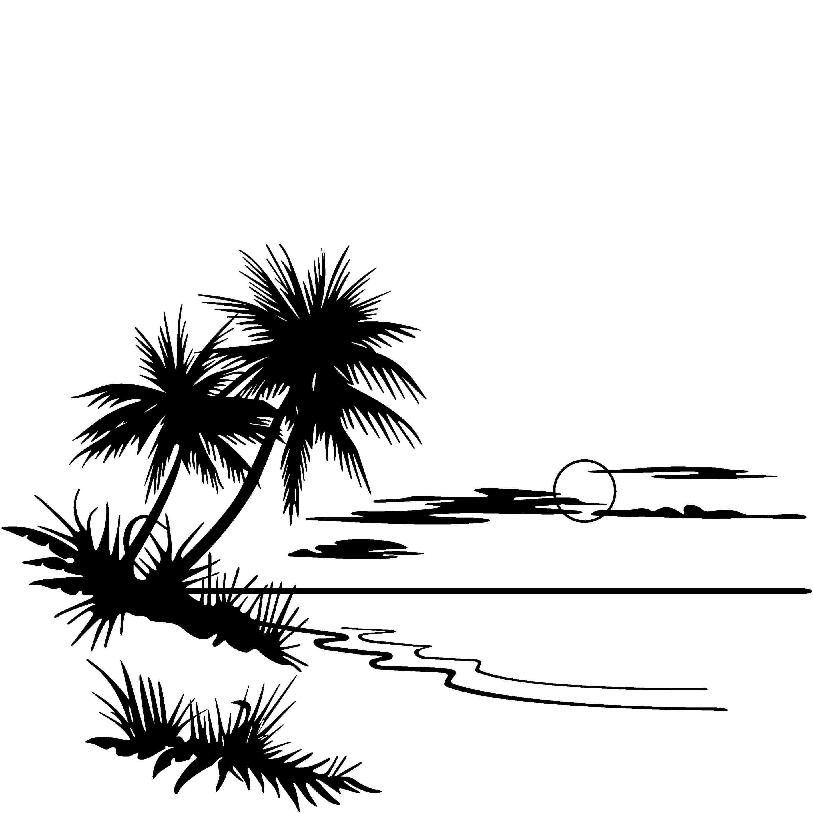 Beach scene clipart black and white clip art transparent stock Beach black and white two palm trees clip art black and white ... clip art transparent stock