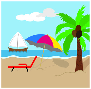 Beach Cartoon Pictures | Free download best Beach Cartoon Pictures ... vector black and white download