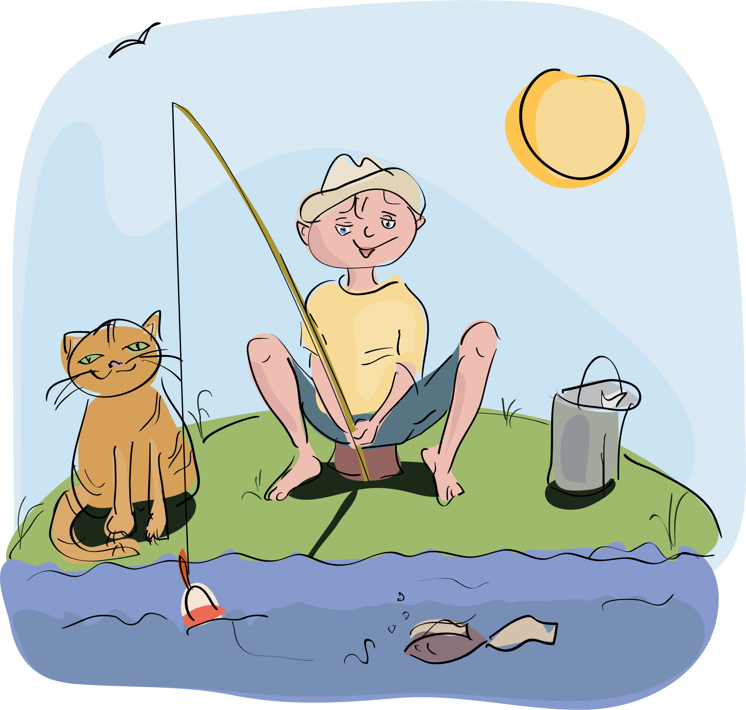 Boy and cat clipart png freeuse stock Clipart - boy and cat fishing png freeuse stock