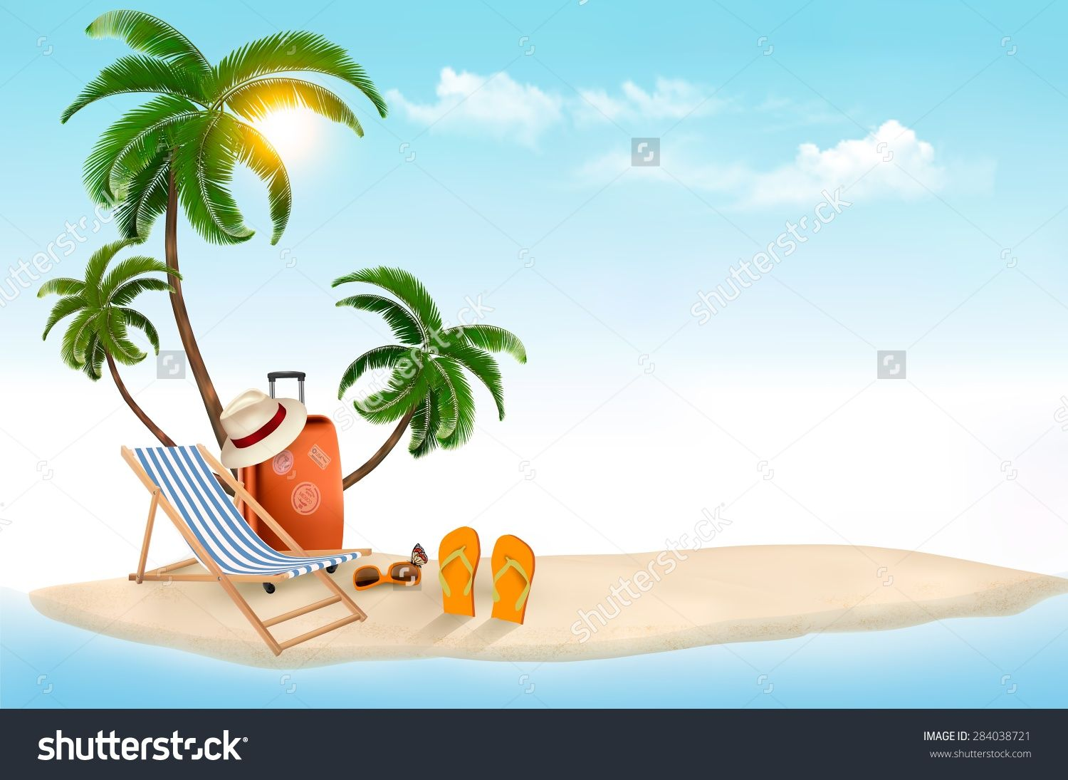 Beach chair umbrella palm tree christmas clipart svg transparent download tropical island palms, a beach chair a suitcase clipart | Nautical ... svg transparent download