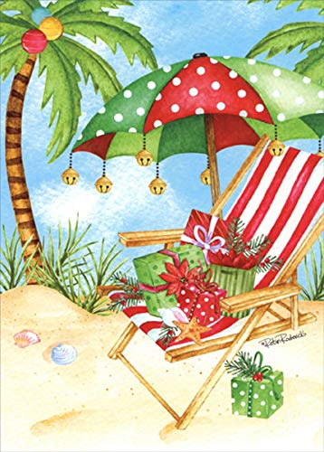 Beach chair umbrella palm tree christmas clipart vector library stock Amazon.com : Polka Dot Umbrella and Red and White Chair on Beach ... vector library stock