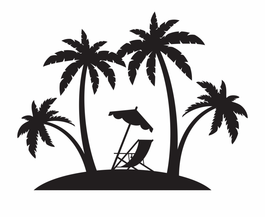 Beach chair umbrella palm tree christmas clipart png Palms And Beach Chair Silhouette Png Clip Art {#1133168} - Pngtube png