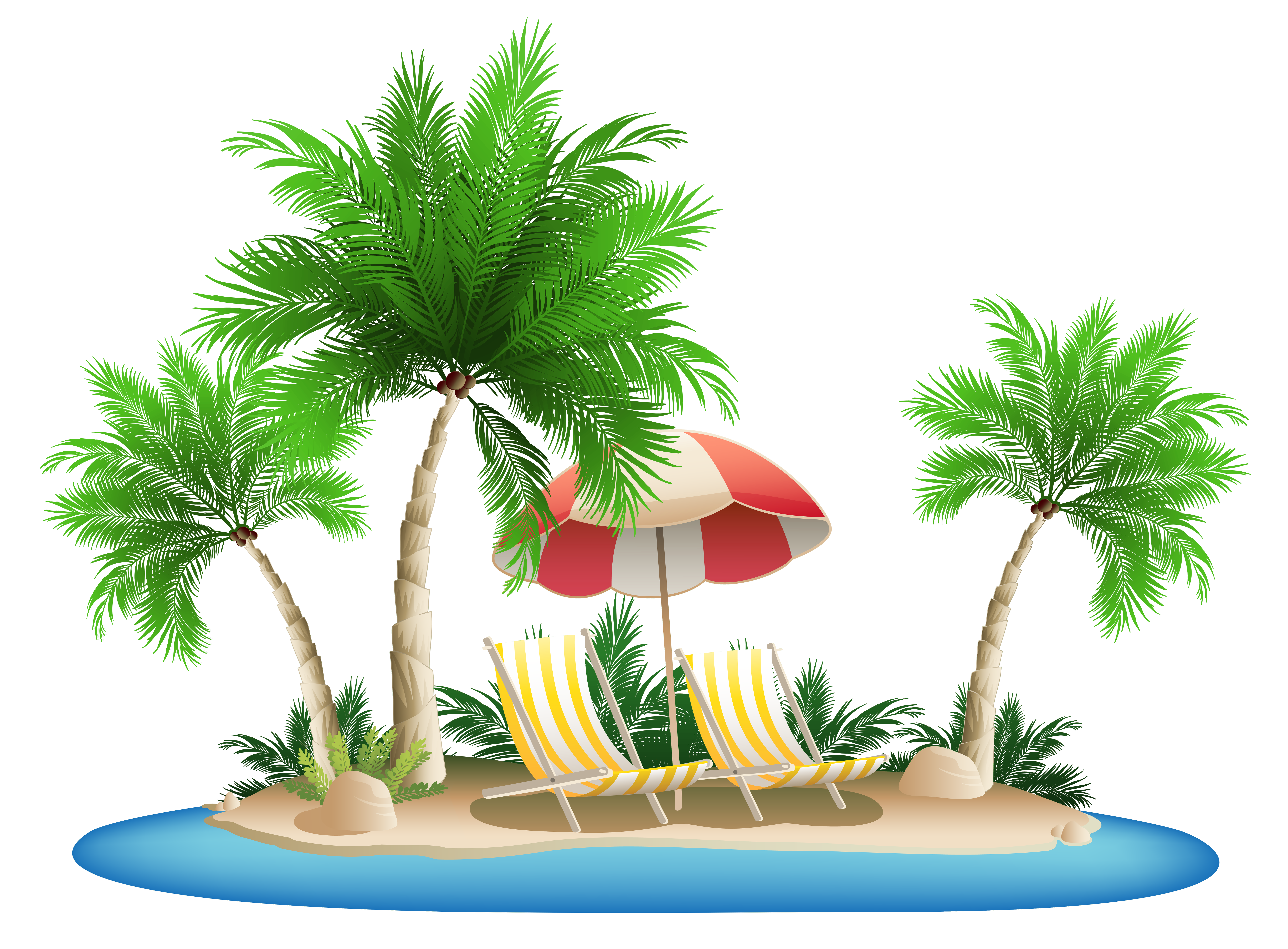 Beach christmas clipart banner freeuse library Beach Umbrella with Chairs and Palm Island PNG Clipart | Gallery ... banner freeuse library