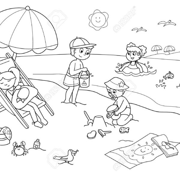Beach clipart black and white clip royalty free stock Children Playing With The Sand At The Beach. Cartoon Illustration ... clip royalty free stock