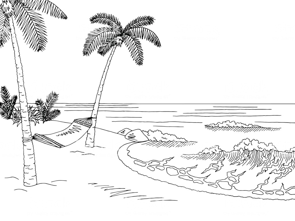 Beach clipart black and white banner library download Beach clipart black and white 4 » Clipart Station banner library download
