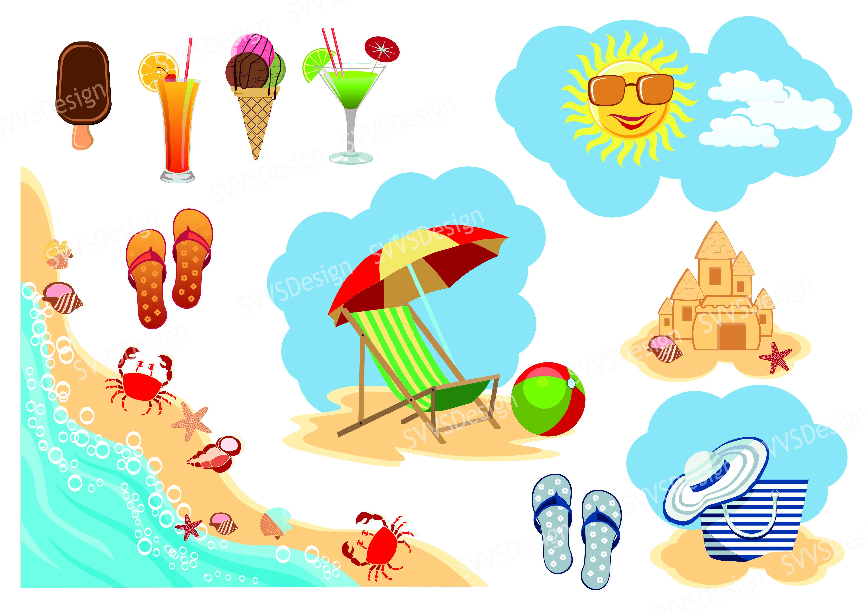 Beach clipart jpg transparent Summer Beach, Clipart, Vector, SVG, PNG . (vr) jpg transparent