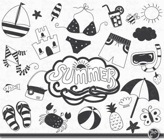 Beach drawings clipart svg library download Hand draw summer \