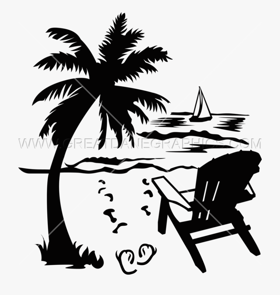 Beach drawings clipart black and white library Palm Tree Beach Drawing At Getdrawings - Beach Chair Clipart Bw ... black and white library