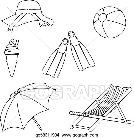 Beach drawings clipart image free Vector Stock - Beach objects line style drawing. Clipart ... image free