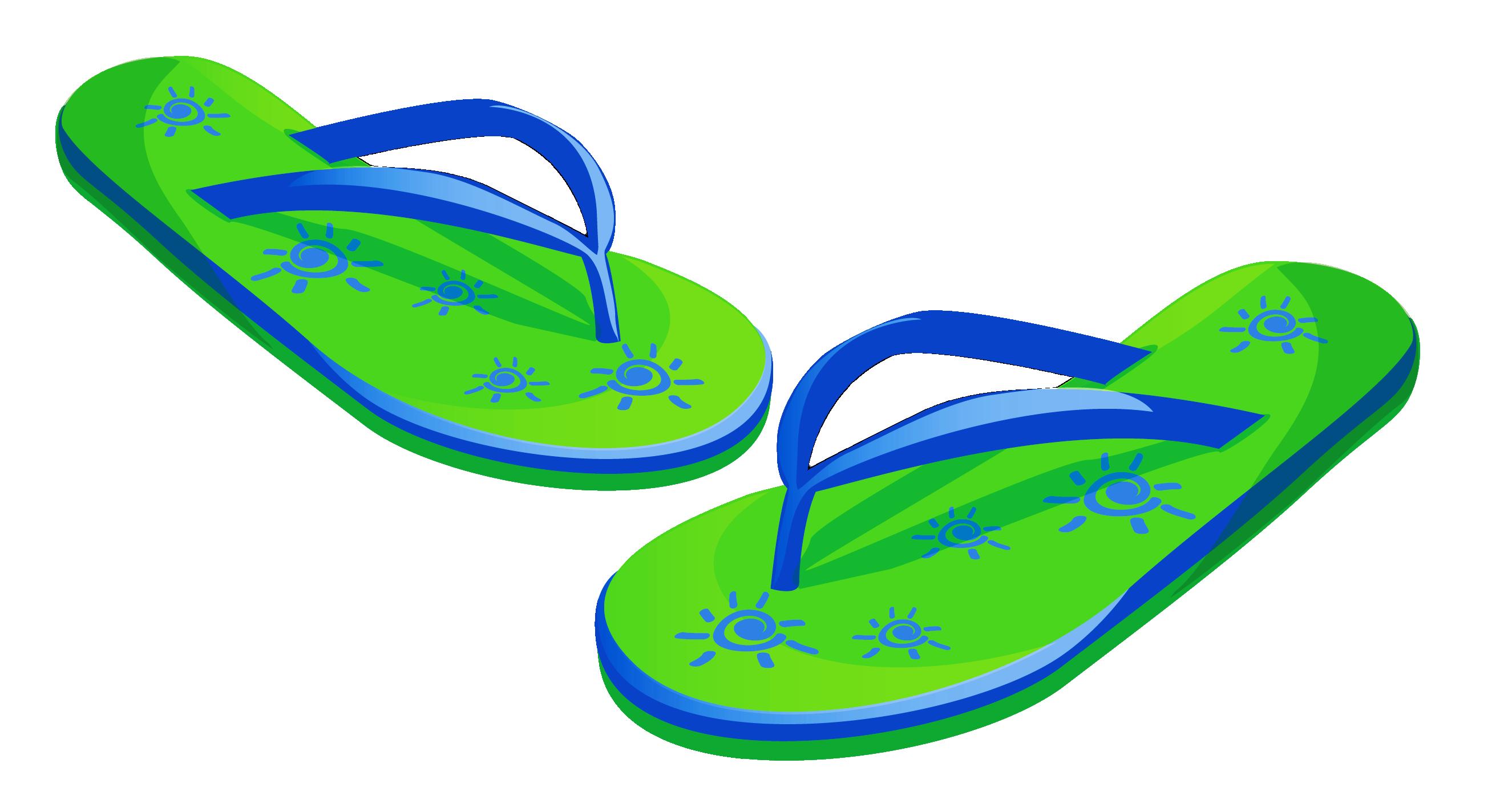 Transparent green beach flops. Flip flop clipart free